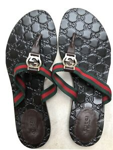 Gucci Flip Flops (size 41.5) With Red Green Webbing And Gold GG $450