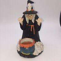 Vintage Halloween Decoration Witch Candle Ceramic Orange Candle 70s 80s Decor