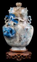Cina 18 19. Secolo Qing A Cinese Hardstone 'Lapis' Miniatura Vaso Chinois Cinese