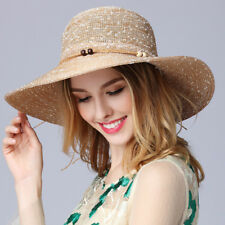 Summer Spring Retro Women Outdoor Floral Lady Beach Wide Brim Sun Hat Girls Caps