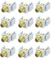 12x F-Type Female to Female Coaxial Cable Keystone Jack Snap-In Insert RG59 RG6