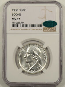 1938-D BOONE COMMEMORATIVE HALF DOLLAR NGC MS-67 CAC APPROVED, PREMIUM QUALITY!