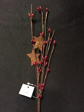Red Berry and Star 12 Inch Pip Berry Pick Spray Primitive Decor NEW