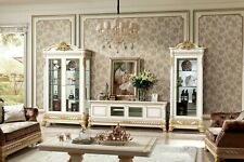 Living Room Wardrobe Baroque Rococo Sideboard 2x Glass Cabinets Lowboard E62