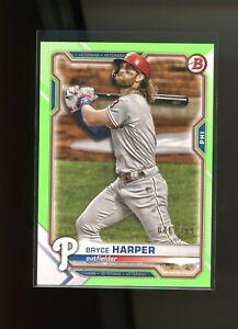 2021 Bowman Baseball - Bryce Harper - NEON GREEN PAPER - #'d 046/399 - Phillies