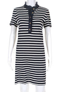 Tory Burch  Womens Striped Print Ruffle Dress Blue White Size Large