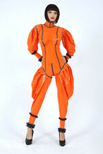 Latex gummi orange&black jumpsuit casual cosplay party personality sexy bodysuit