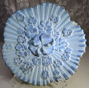"Vintage Haeger Blue Pansy Wall Plate 9"" Ashtray 1035-H USA 1944"