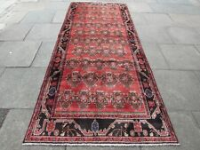 Vintage Hand Made Traditional Oriental Wool Red Pink Long Rug Carpet 318x130cm