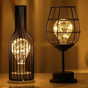 Wire Table Lamp Iron Minimalist Vintage Light Lantern Bedroom Bedside Art Deco