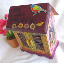 HANDMADE PAINTED WOODEN BOX HOUSE SHAPE HOME  DECOR  FOR STORING LOVE  AND  LUCK