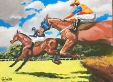 "Original Painting ""Steeplechase"" Acrylic on Canvas Board 12""x16"" by C. Pecharka"
