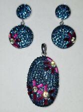 Ross Simons Sterling silver Swarovski Crystal flower blue earrings pendant set