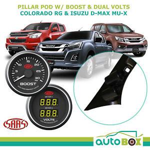 Colorado D-Max MU-X 2012-16 Pillar Pod w/ Black Diesel Boost & Dual Volts Gauge