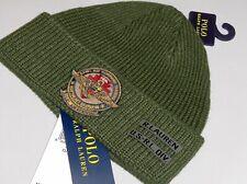 POLO RALPH LAUREN Men's Beanie Hat, Naval Air Military Skull Ski Watch Cap GREEN