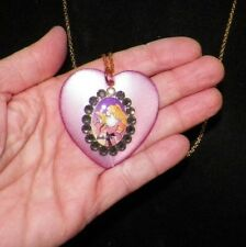 TARINA TARANTINO BARBIE PURPLE HEART WITH CRYSTALS GOLD CHAIN NECKLACE UNUSED