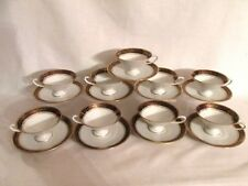 SCHUMANN ARZBERG BAVARIA 83 (9) FOOTED CUP & SAUCERS GOLD TRIM & SCROLLS DECOR