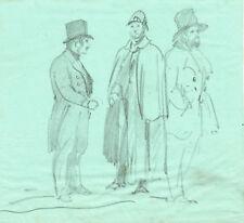 Tre uomini con cilindro e cappotto - Disegno originale a matita 1900 - 17x15 cm