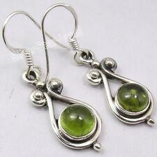 """Sterling Silver Genuine GREEN PERIDOT HANDWORK OXIDIZED Dangle Earrings 1.4"""""""