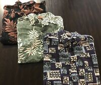 Go Barefoot Mens Hawaiian Shirt LOT OF THREE cotton aloha camp Size Large USA