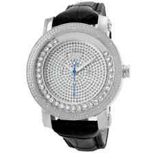 JBW Hendrix Steel Case Black Leather Strap White Crystal Pave Dial Men's Watch