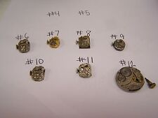 Lot of 6 Working Watch movements Hands Faces Stem Crowns