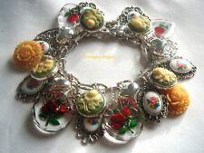 Carved Rose Intaglio Western Germany Vintage Floral Cameo Flower Decals Reversed