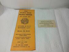1941 World Wide Philatelic Convention Flyer, St. Louis, Mo, Hotel Desoto