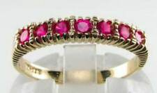DIVINE 9K 9CT YELLOW GOLD NATURAL RUBY ETERNITY ART DECO INS RING FREE RESIZE