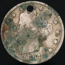 More details for 1887 | u.s.a. liberty v nickel 5 cents 'holed' | cupro-nickel | coins | km coins