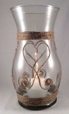 Glass Vase Hand Wrapped with Jute, Glass Candle Holder, Heart Shape Jute Design