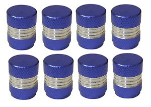 Blue and Silver Round High Quality Metal Metallic Dust Caps Pack of 8 Caps
