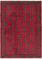 """Hand-knotted Persian 3'3"""" x 4'6"""" Turkoman Traditional Wool Rug"""