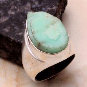 Chrysoprase Rough Ethnic Handmade Man's Ring Jewelry US Size-9.5 AR 48388