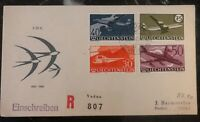 1960 Vaduz Liechtenstein First Day cover FDC to Zurich Switzerland # C34-C37