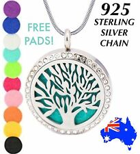 Crystal TREE of LIFE Essential Oil Diffuser 925 Sterling Silver Chain Necklace