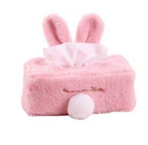 Cute Rabbit Ears Plush Tissue Box Cover Car Cartoon Toilet Paper Box Home Decor