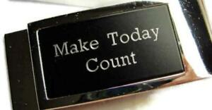 Make Today Count Wallet Credit Card Cash ID Holder Silver Tone Black Money Clip