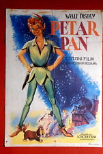 PETER PAN WALT DISNEY 1955 MEGA RARE ORIGINAL VINTAGE EXYUGO MOVIE POSTER