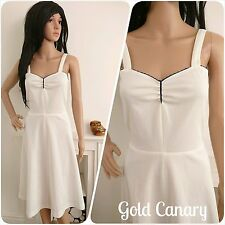 Vintage 70s White Sweetheart A line Sun Dress Boho 8 10 36 38