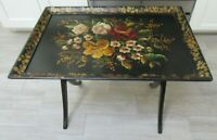 VINTAGE WOOD HANDPAINTED TOLE TRAY TEA TABLE FOLDING FLORAL COUNTRY PRIMITIVE