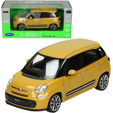 WELLY 1:24 W/B 2013 FIAT 500L WITH WHITE TOP Diecast Car Model Yellow