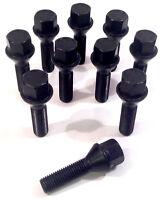 Black extended wheel bolts 35mm thread M12x1.5 taper BMW 3 series x 10