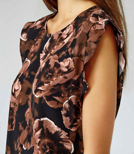 Reiss Whitely Rose Print Top Retro Fifties Black Mocha Size 12 New Without Tags