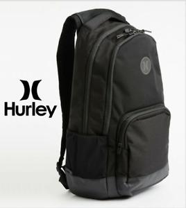 Hurley Backpack SURGE II Solid Black School with Laptop Sleeve Travel Bag