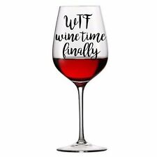 6 x WTF Wine Vinyl Decal Wine Tumbler Pint Drinking Glass stickers