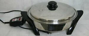 "SALADMASTER 12"" Titanium Stainless Steel Oil Core Electric Skillet SA0120CU"