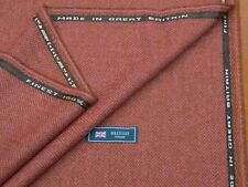 100% WOOL TWEED FABRIC, MIX PINK/NUT BROWN HERRINGBONE - MADE IN GREAT BRITAIN