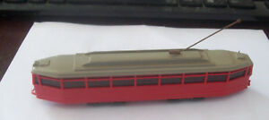 Wiking Germany 69 Tram streetcar red with gray roof pole plastic ho