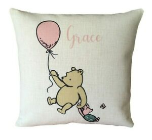 Personalised Winnie the pooh cushion cover 40 cm ~ baby/girl nursery gift